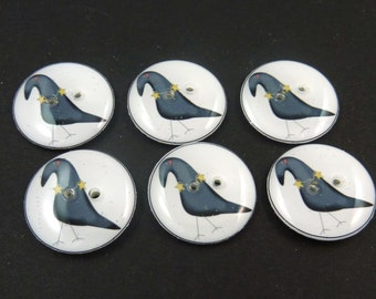 """6 Crow and Star Buttons. 3/4"""" or 20 mm. Handmade Primitive Crow Sewing Buttons. Handmade supplies."""