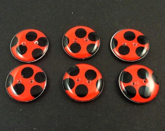 "6 Ladybug buttons.  Handmade Sewing Buttons. 3/4"" or 20 mm Ladybug or ladybird buttons. Lady Bird."