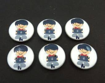 "6 Boy with Laptop or Computer Buttons.  6 Handmade sewing buttons. 3/4"" or 20 mm.  Computer Geek Buttons"
