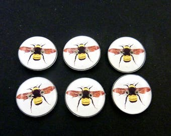 6 Handmade Buttons Bee Buttons.  Black and Yellow Bee buttons for Sewing, Knitting, Crochet and Scrap Booking.