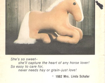 Linda Schafer 1980s Horse Pattern 19 Inches Lying Down Equine Home Decor THIS IS SUGAR Toy Sewing Pattern UNCuT