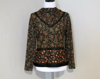 Vintage 1970s Top, Size 14 Black, Orange, and Green Tiny Floral Celanese Fortrel Polyester Pull On Blouse with Moderate Cowl Neck, Back Zip