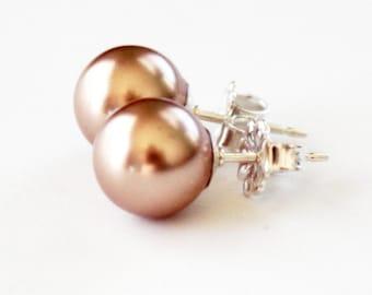 Rose Gold Pearl Stud Earrings - Swarovski Pearl - Sterling Silver Post - Bridal Party - Rose Gold Studs - Wedding Earrings
