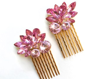 Comb - Small Blush and Gold Rhinestone Hair Combs (Set of 2) - Vintage Style - Gold Metal Comb - Rose Pink, Blush, Fuchsia Crystals