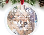Gift for Aunt, Auntie Christmas Gift, photo ornament, personalized holiday ornament featuring your photo // C-P15-OR XX9