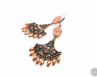 Brown copper Boho dangle earrings hand crafted, handsculpted polymer clay, glass beads, copper plated, boheme earrings