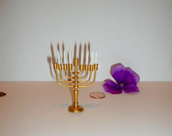 Dollhouse Miniature  Menorah  candelabra Brass Candleholder Hanukkah Holiday