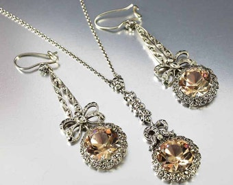 Edwardian Sterling Smoky Quartz Necklace Set, Antique Smoky Topaz Marcasite Necklace, Chandelier Smoky Quartz Earrings, Sterling Silver Bow