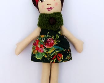 """Brunette Cloth Heirloom Doll, 18"""" Gorgeous Rag Doll, Brown hair doll with Handpainted Face, Christmas doll, cloth doll, fabric doll, soft do"""