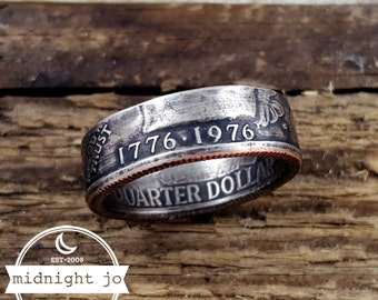1776 1976 Coin Ring Bicentennial Quarter Coin Ring US Coin Ring
