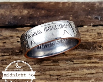 Northern Mariana Islands Coin Ring - Northern Mariana Islands Quarter Ring- Double Sided Coin Rings- US Quarter Rings- Handmade Coin Jewelry
