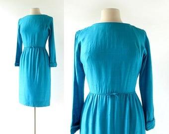 Vintage 1950s Dress | Glacial Lake | Turquoise Dress | 50s Dress | XS