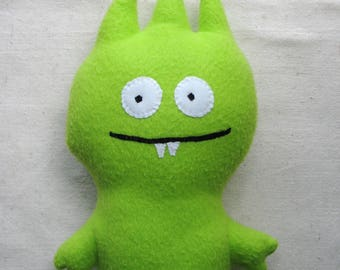 Plush monster, soft alien fantasy creature in lime green fleece, 13.5 inches