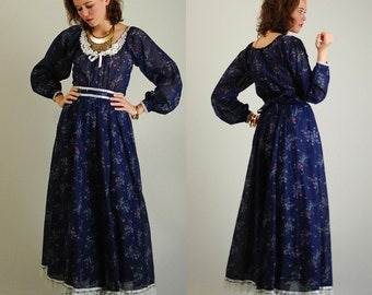 Gunne Sax Dress Vintage 70s Dark Blue Floral GUNNE SAX Prairie Maxi Dress (s)