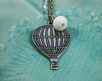 Hot Air Balloon Necklace Vintage Silver Balloons Necklace Cloud Hot Air Balloon jewelry Whimisical Jewelry Victorian Travel Balloon Handmade
