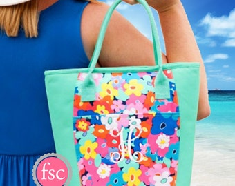 Teacher gift , Poppy Monogrammed lunch bag Poppy, personalized lunch bag , beach cooler  , vacation beach cooler bag , insulated lunch tote