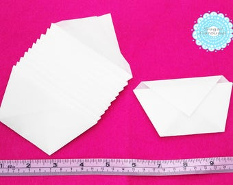 10 White Translucent Paper Envelopes - small simple origami upcycle waste reclaimed paper green eco friendly packaging bag flavor