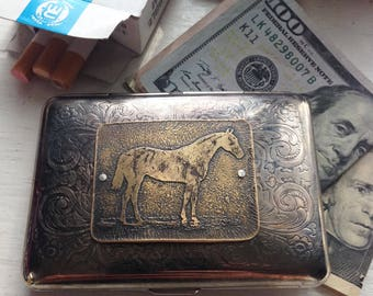 Thoroughbred Horse Etched Wallet / Cigarette Case in Victorian Filigree