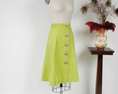 Vintage 1940s Skirt - Spring 2017 Lookbook - The Lime Rickey Skirt - Fantastic Bright Lime Green Cotton 40s Button Front Skirt