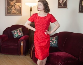 Vintage 1950s Dress - Vibrant Christmas Red Taffeta 50s Wiggle Dress with Deep Red Embroidered Vines
