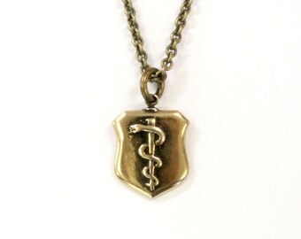 Rod Of Asclepius Shield Necklace Staff of Asclepius Bronze Aesculapius Medallion Pendant 497