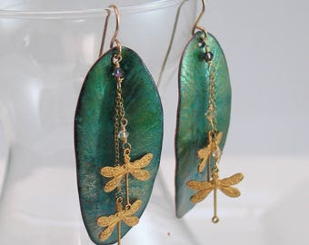 Teal Green Long Leaf Dangle Earrings, Glowing Enamels in Rich Color, Luminous Copper Enamel, Vitreous Enamel Art Jewelry, Artisan Earrings