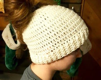 Made to order, teen, adult, messy bun hat, bun hat, pony tail hat, winter, open-top hat