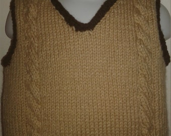 Hand Knit Toddler Cable Sweater v-neck Vest, Beige trimmed with brown, size 18 month