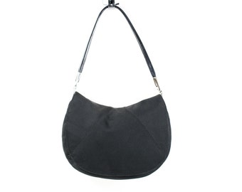 Saddle Bag Black Canvas Purse Carryall Satchel