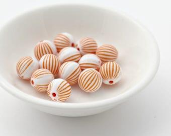 Acrylic Fluted Round Orange White Beads 10mm (20)
