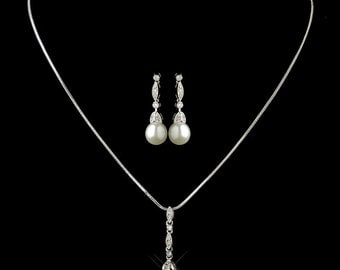 pearl bridal jewellery set pearl bridal 1920s wedding jewellery set pendant necklace earrings vintage style bridal necklace