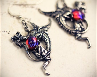Dragon Earrings, Dragon Jewelry, Medieval, Renaissance Jewelry, Tudor, Costume, Ren Faire, Bridal, Garb, Heraldry, Fantasy, Mythology, Wing