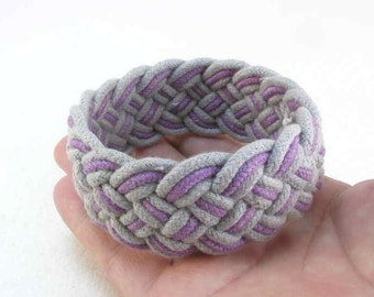 purple grey cotton rope bracelet turks head knot bracelet handwoven cord bracelet 2196