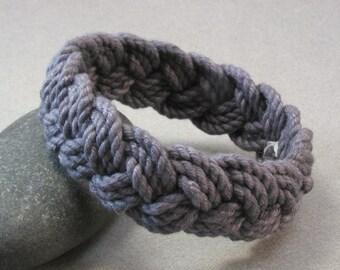 dark charcoal cotton rope bracelet turks head knot bracelet 3989