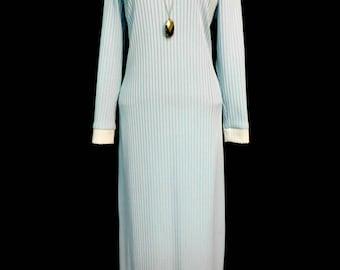 Vintage 70s Light Baby Blue Ribbed Knit Maxi Sweater Dress High Neck Mod Chic Retro Party M Medium L Large