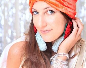 Orange Turban Hat - Crushed Velvet Hair Turbans - Bohemian Style Fashion Headwrap - Lots of Colors