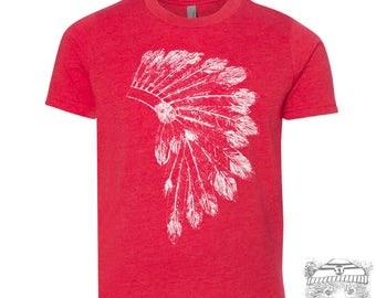 Kids Native American HEADDRESS Premium vintage soft Tee T-Shirt Fine Jersey T-Shirt (+Colors) - FREE Shipping