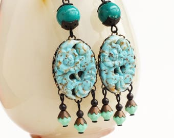Turquoise Chandelier Earrings Large Vintage Carved Glass Aqua Green Floral Boho Chic Turquoise Jewelry