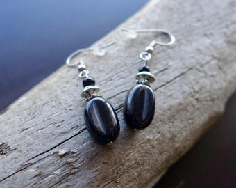 Elegant Glass Bead Earrings | Black Dangle with Silver Accents