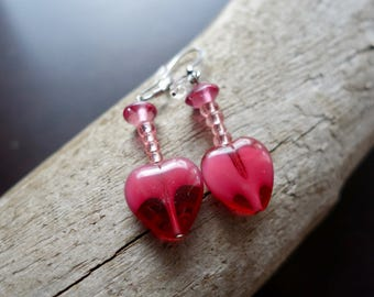Elegant Glass Bead Earrings | Pink Heart Dangle with Silver Accents