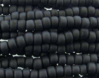 9x6mm Matte Opaque Black Glass Crow Beads - 12 Inch Strand (BW218) SE
