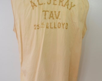 sale Vintage 1930's Milwaukee TAVERN shirt trashed sleeveless Burton's Everwear Poplin sanforized