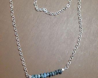Blue diamonds chip necklace sterling silver chain-rough blue diamonds organic shape natural diamonds