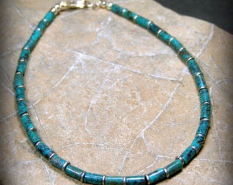 Turquoise bracelet tiny tube Native American tribal style bracelet for men