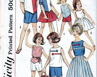 Vintage Sewing Patterns Girls Childs 1960s Blouse Top Skirt Shorts Pattern 9335 Retro Summer Outfits DIY Simplicity 4457 Mid Century Size 4