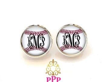 Monogram Baseball Earrings | Personalized Baseball Earrings | Style 728