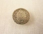 "Antique Victorian Sterling Silver Engraved Love Token or Initial Shirt Stud/Button, Letter ""G"""