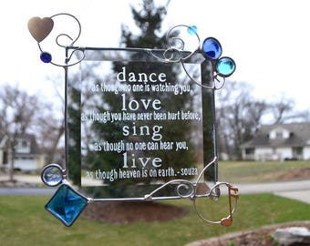 Dance  Love Sing Live Abstract Stained Glass Suncatcher Family Souza