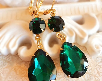 Emerald Earrings - Green - Formal Event - Bridesmaid Gift - ANGELINA Emerald