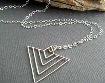 "sterling silver chevron wire necklace small triangle art deco geometric dainty delicate simple modern jewelry contemporary unique gift 1"""